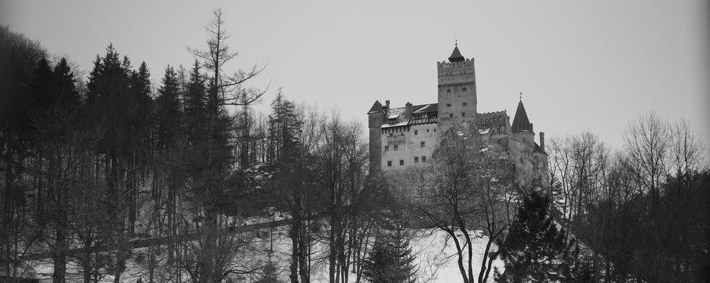 Bram Castle - Dracula's castle in Romania - in winter.