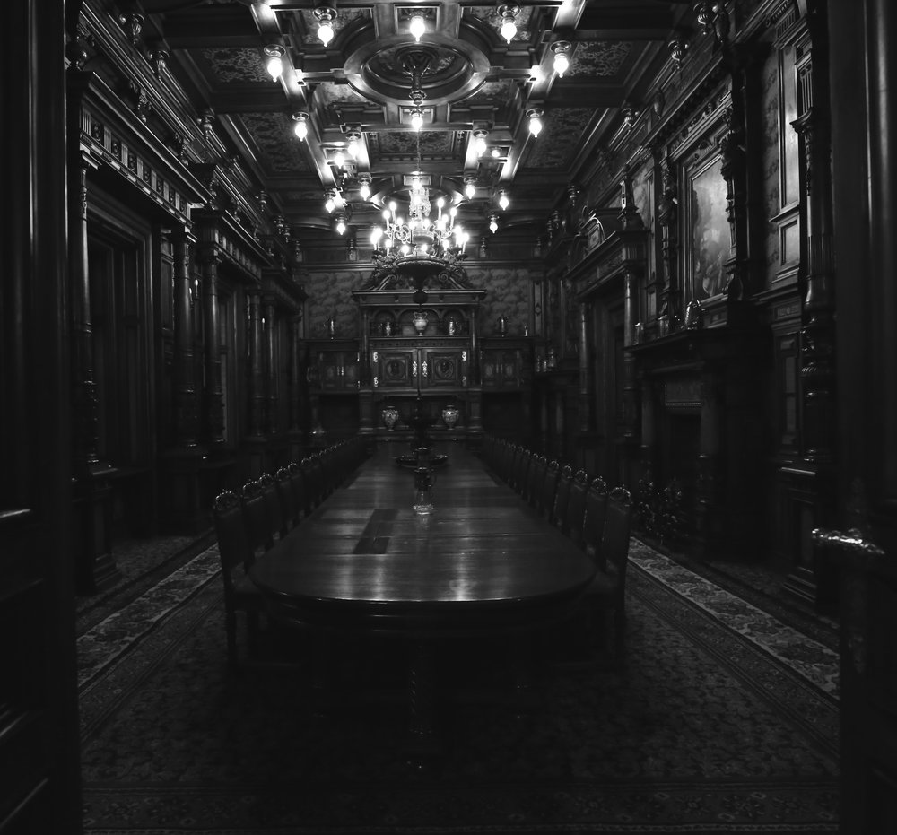 The grand dining room of Peles Castle - a real life Dracula scene.
