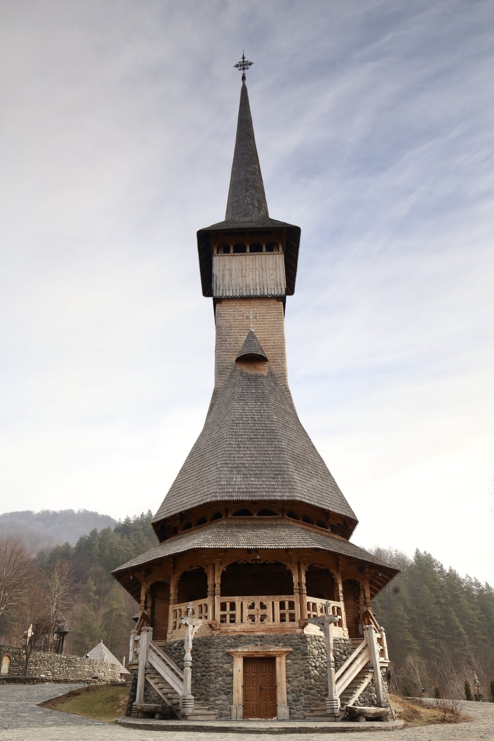 The tall wooden church spires of Bârsana monastery in Romania.