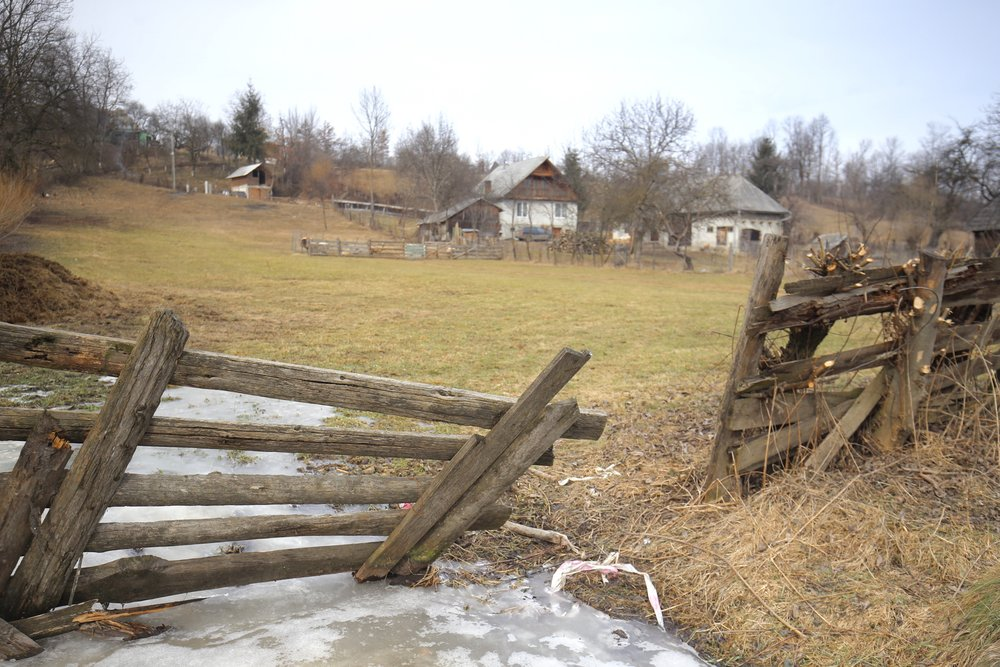 A farm fence in a small Romanian village.