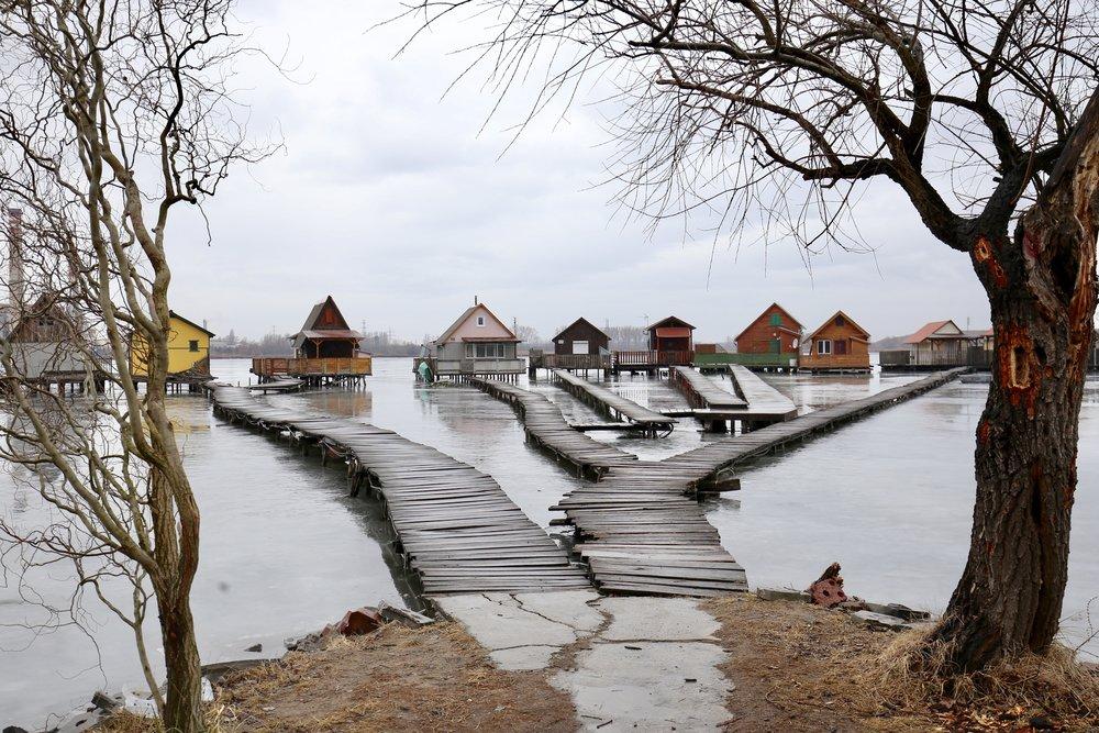 The Bokod stilt village of Hungary.