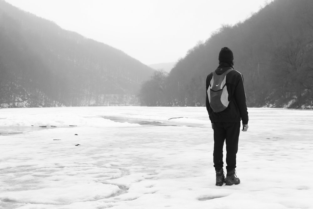 Oliver standing on a frozen lake at Lillafured, Hungary.