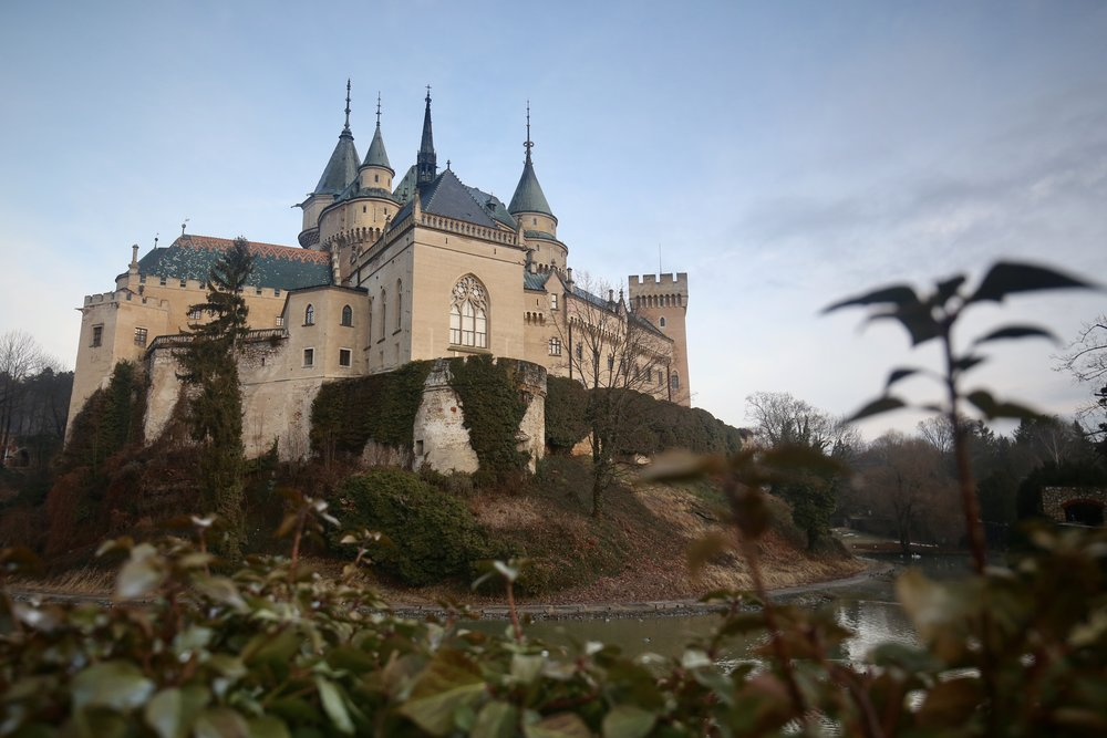 Bojnice Castle - a real life Disney castle, of pink stone and blue towers, in Slovakia.