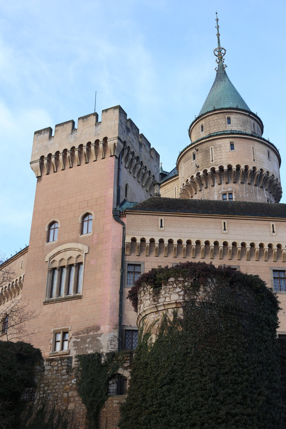 Pink and blue castle turrets - beautiful ivy crawling up the walls - the romantic castles of Slovakia.