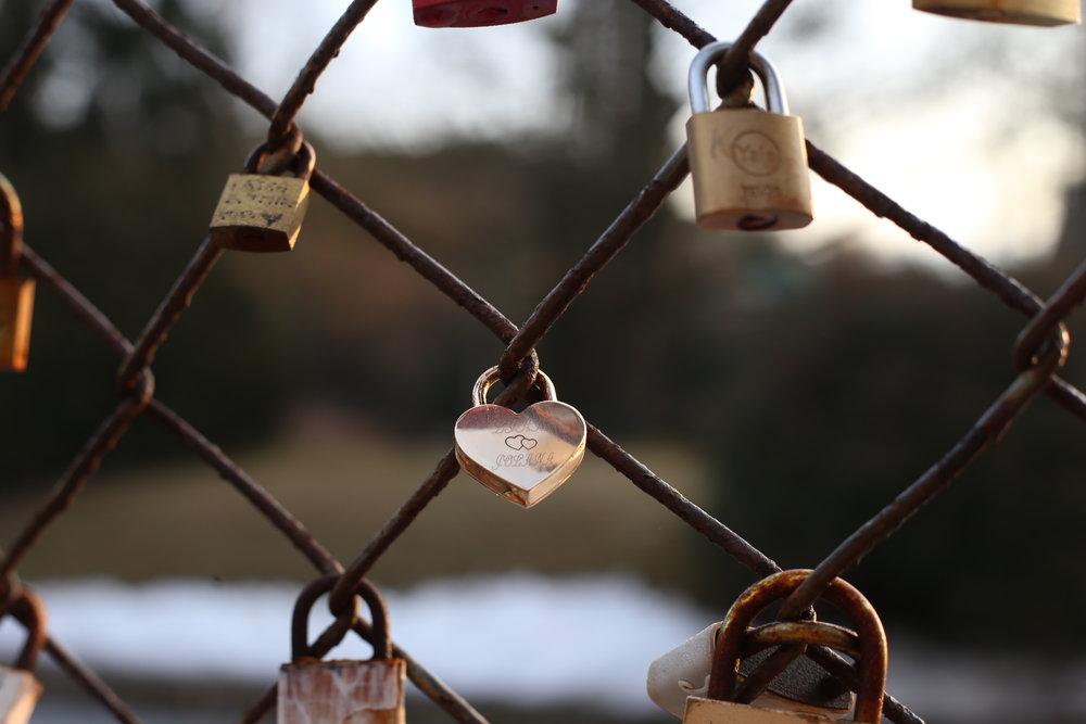 Gold heart shaped locks on a chain bridge.