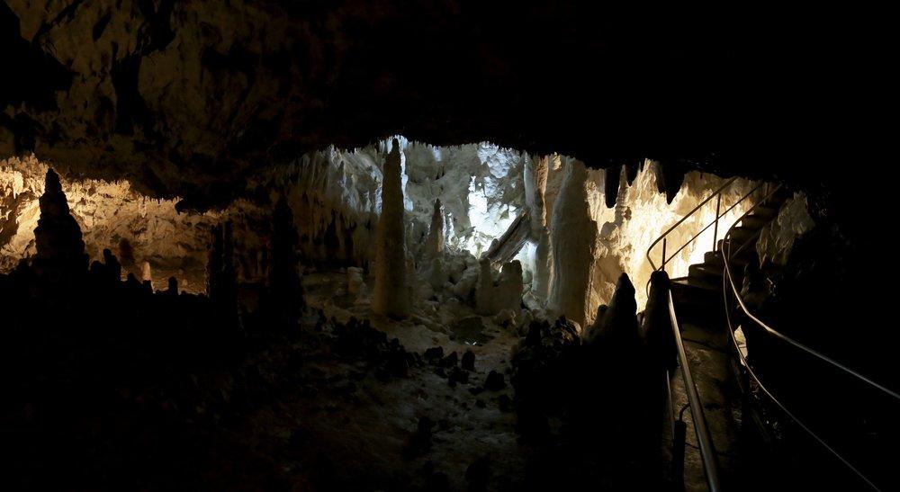 Demänovská Caves of Liberty - beautiful stalagmites along the cave floor.