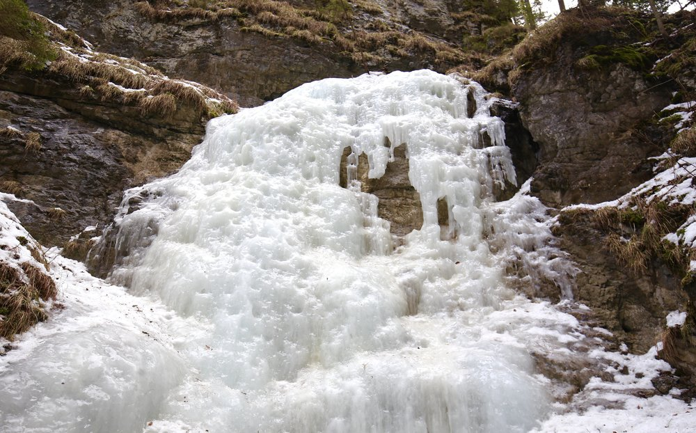 A frozen waterfall in the Slovak Paradise Park.