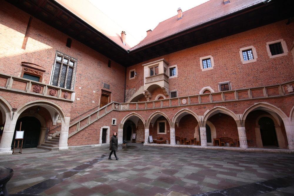 The University in Krakow - the beautiful stone courtyard.