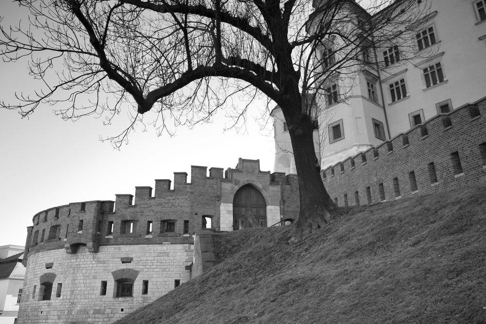 Medieval walls of Krakow castle - old fairytale city with fairytale castle.