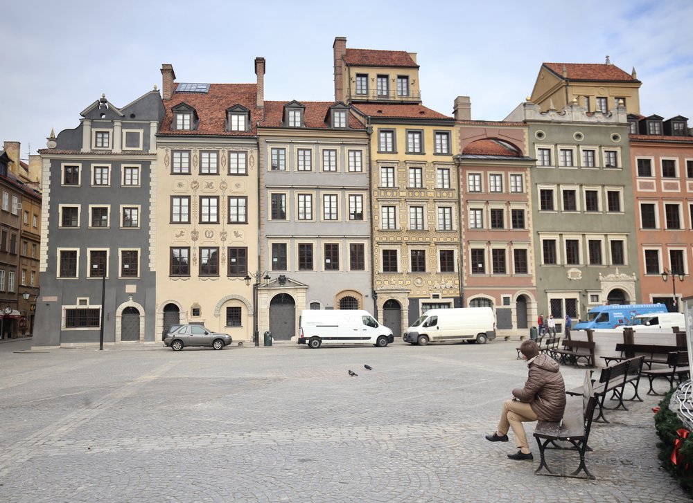 The beautiful town square of Warsaw, Poland.