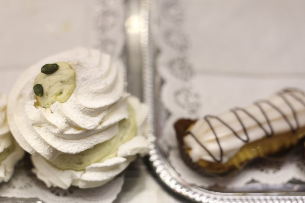 Cream puff meringues with liquor from a bakery in Warsaw.