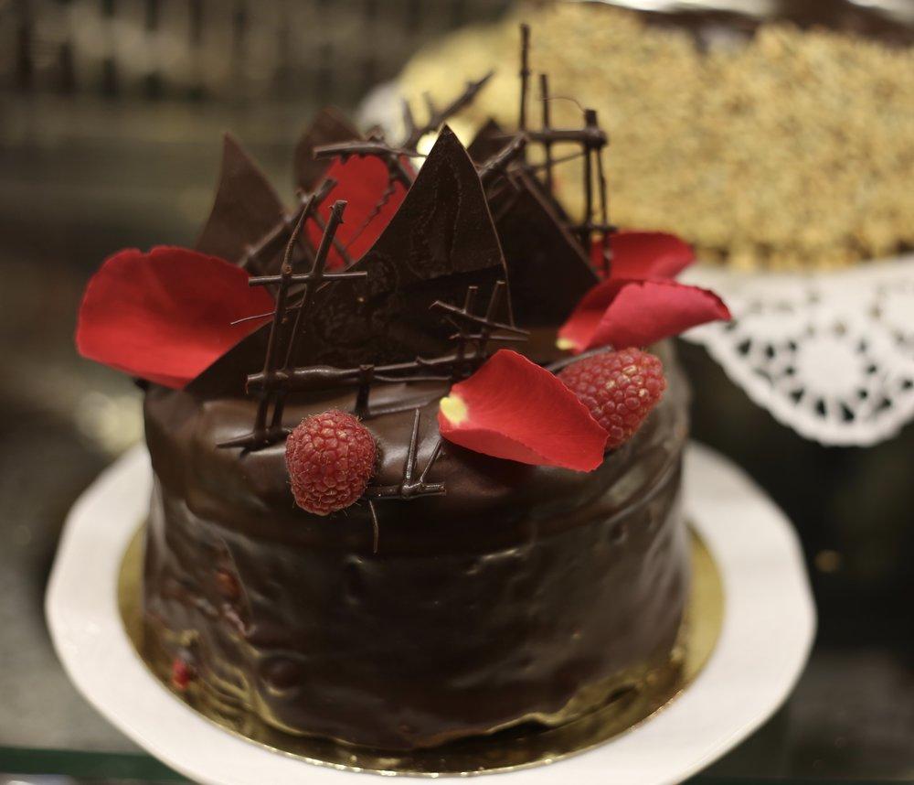 Rose petal chocolate cake in a Polish bakery.