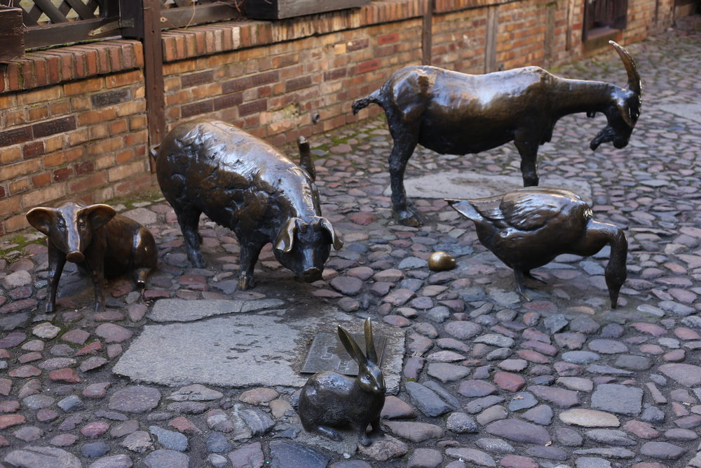 Farm animals in bronze, in an alley of Wroclaw, Poland.