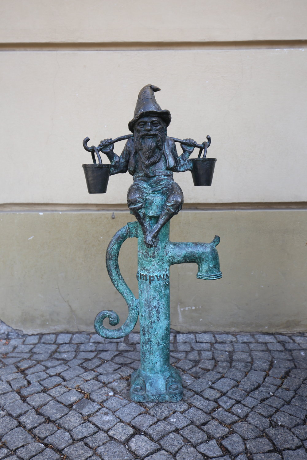 Water pail carrying dwarf - Wroclaw.