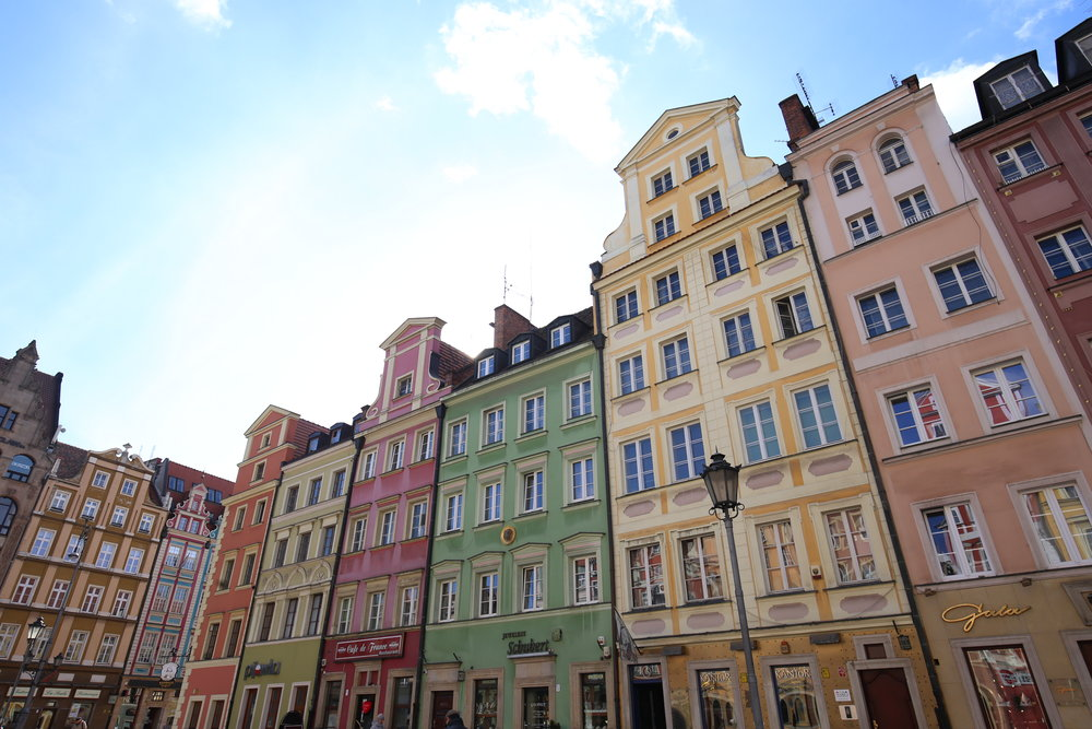 Beautiful colourful houses all in a row, in Wroclaw.