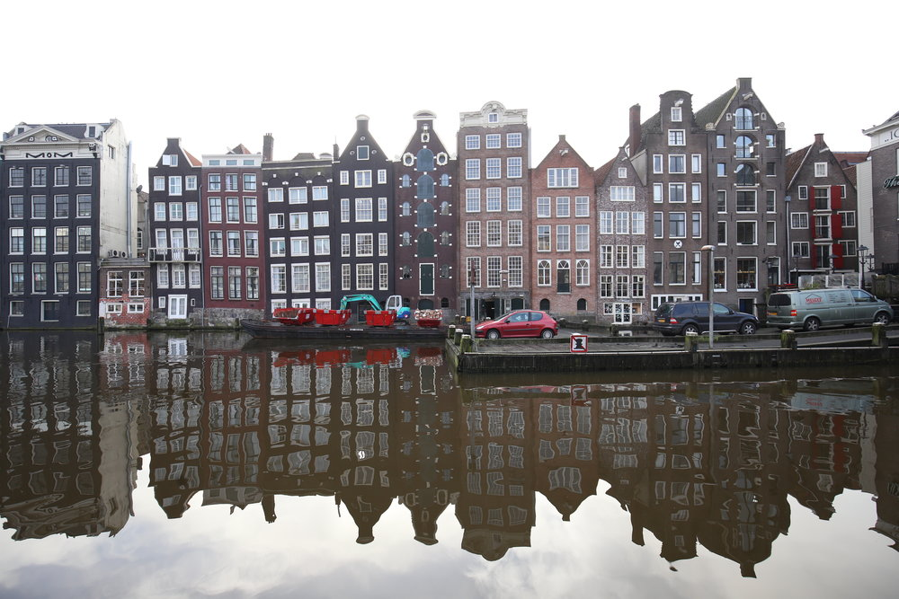 The houses and canals of Amsterdam.
