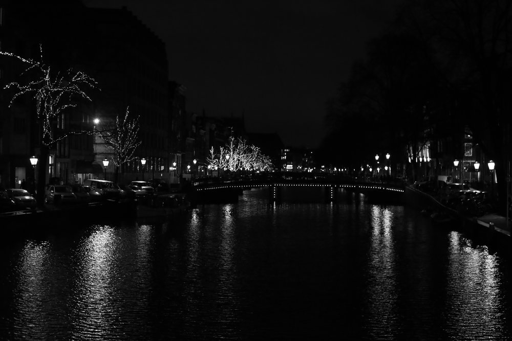 City lights reflecting on a canal, in black and white photography - Amsterdam at night.