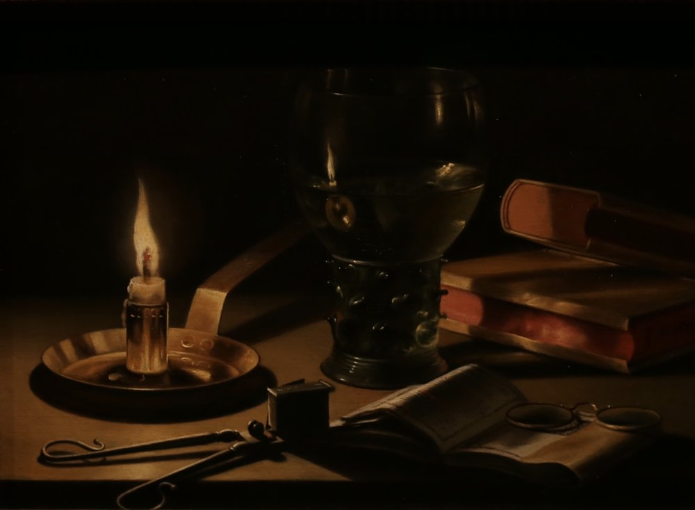 A candle illuminates a dark still life scene in an old dutch painting.