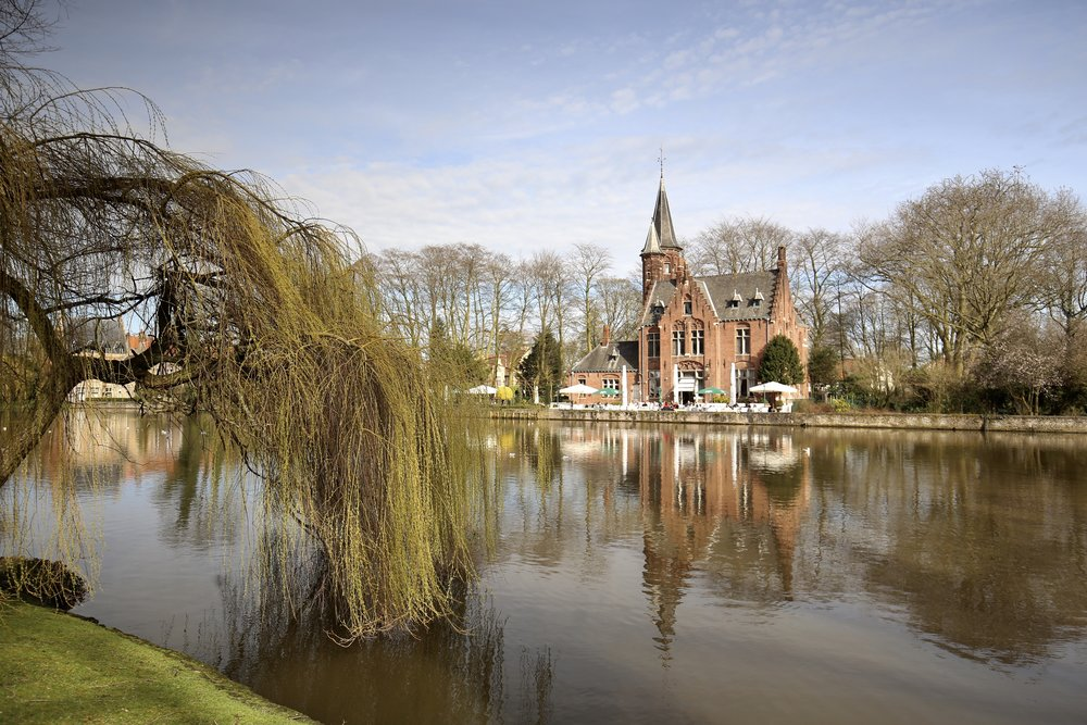 Minnewater lake in Bruges - the lake of love.