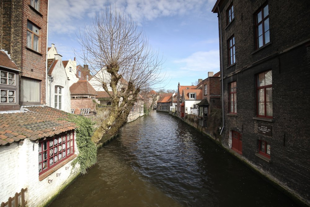 The beautiful canals of Bruges - with small medieval houses on either side.