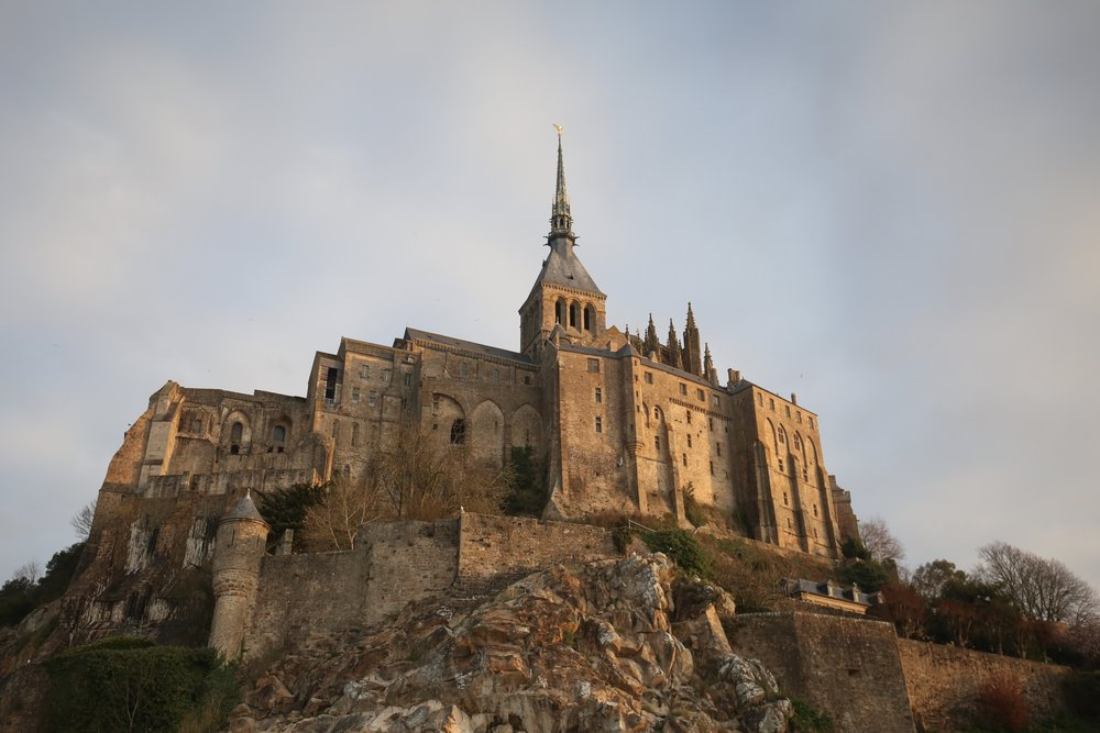 The Abbey of Mont Saint Michel in the light of dawn.