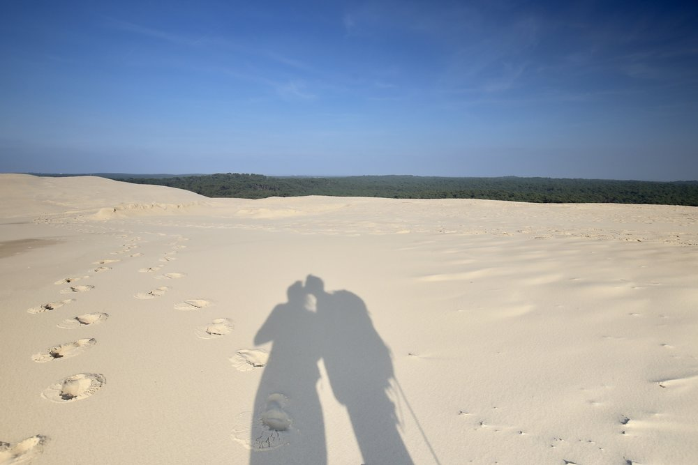 Kisses on the beach - shadows of a kiss.