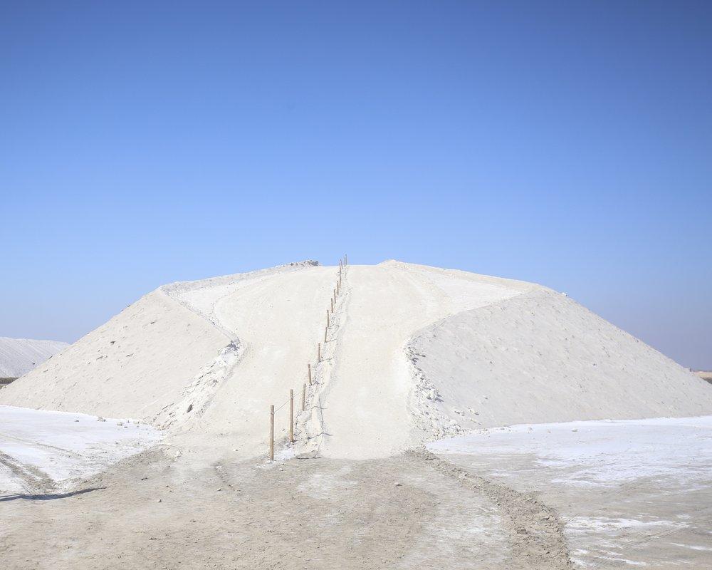 A huge hill of salt, walking the hill of salt at Salins du Midi.