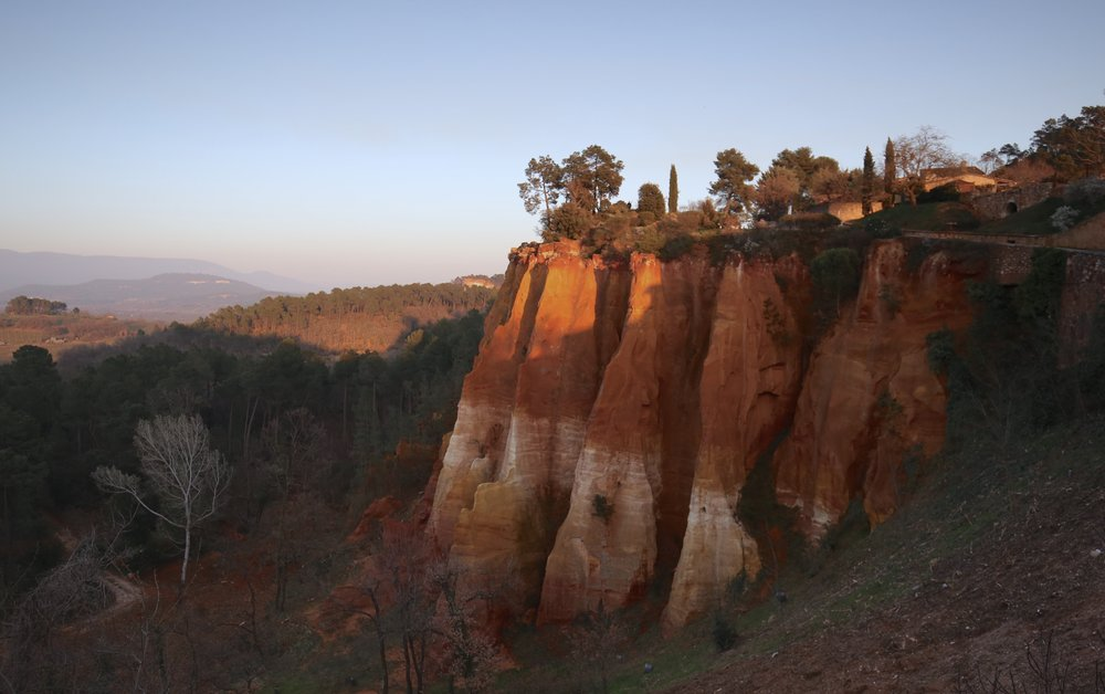 The cliffs of Roussillon - red ochre in Provence, France.