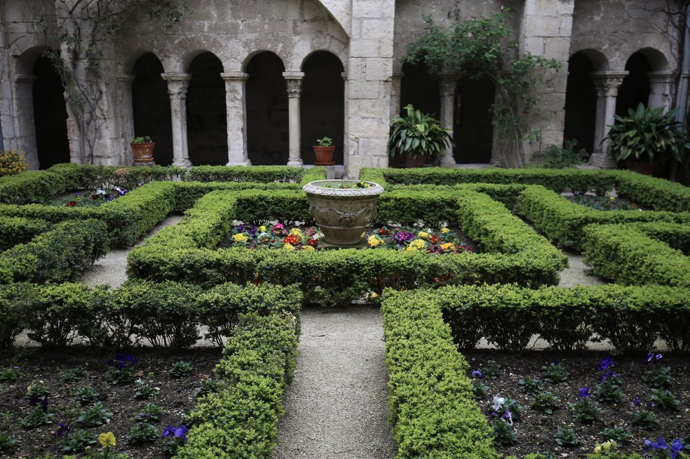 Abbey gardens in the cloister of St Remy, Provence in Spring.