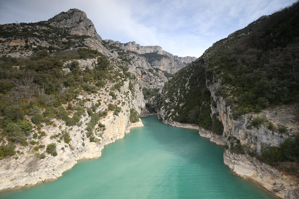 The blue-green waters of the Verdon Gorge, France.