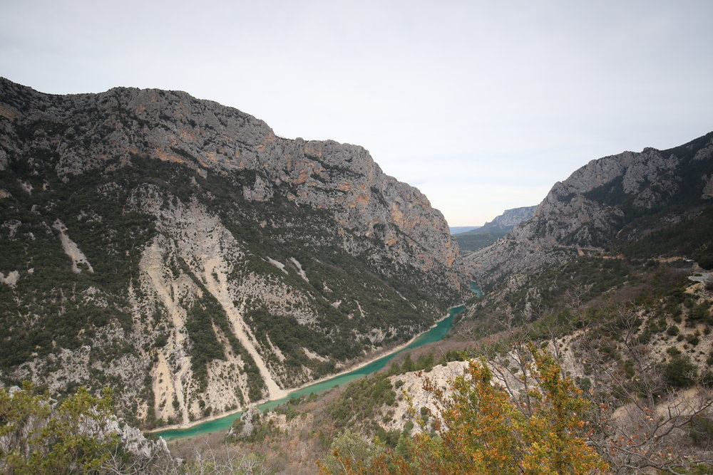 A blue-green snake - the river winds through the Verdon Gorge.