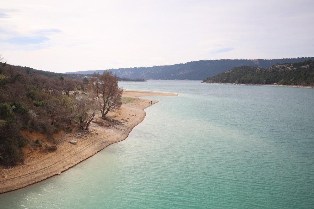 The beautiful blue Lake Sainte-Croix, on the edge of the Verdon Gorge.