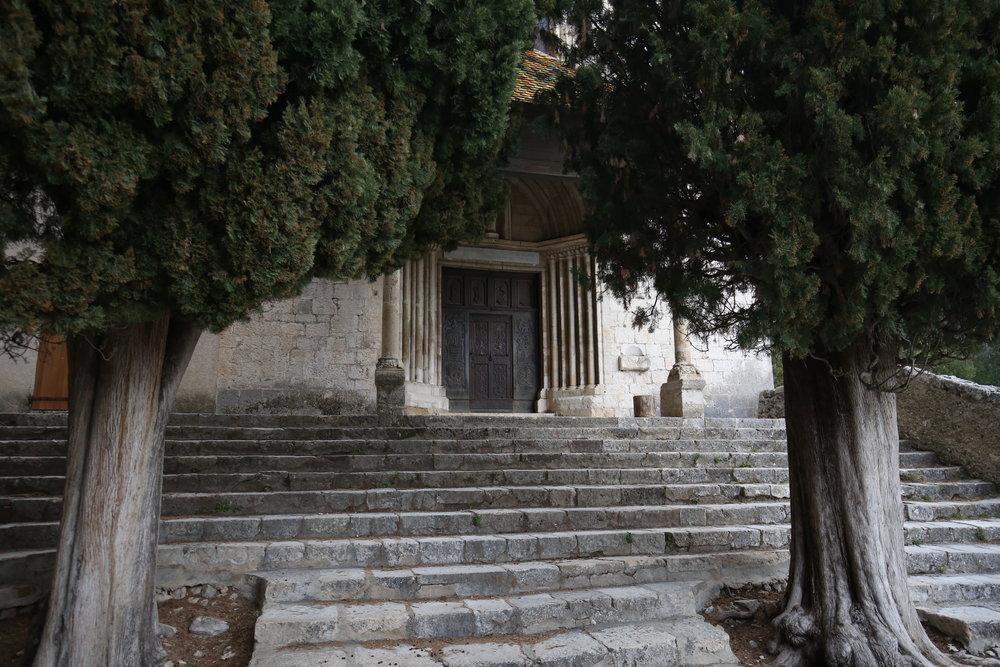 Gates to a mountain shrine, France.