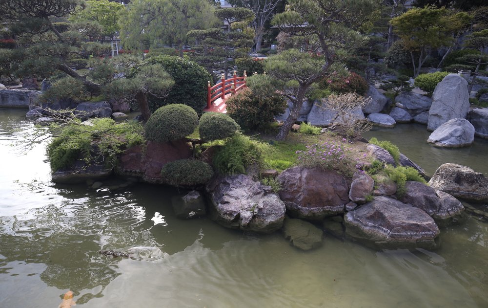 The beautiful bridge and small pond in the Japanese gardens of Monaco.