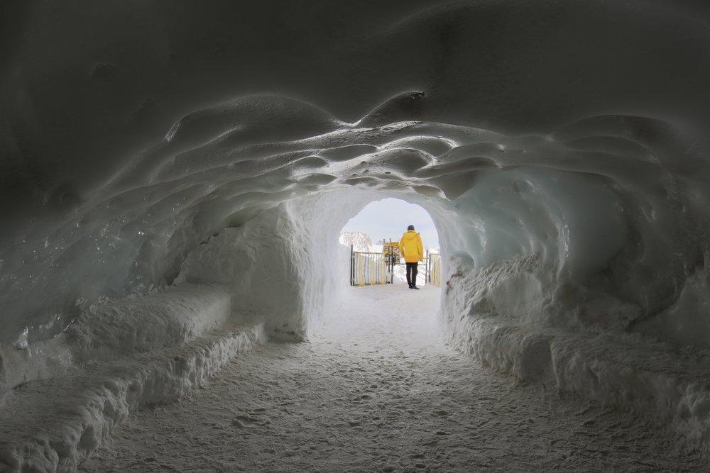 A snow cave tunnel on Aiguille du Midi, Mont Blanc.