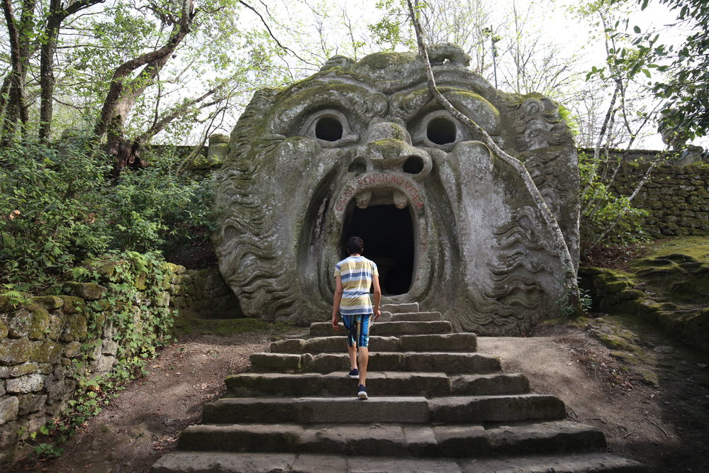 Walking into the mouth of a monster - Bomarzo garden.