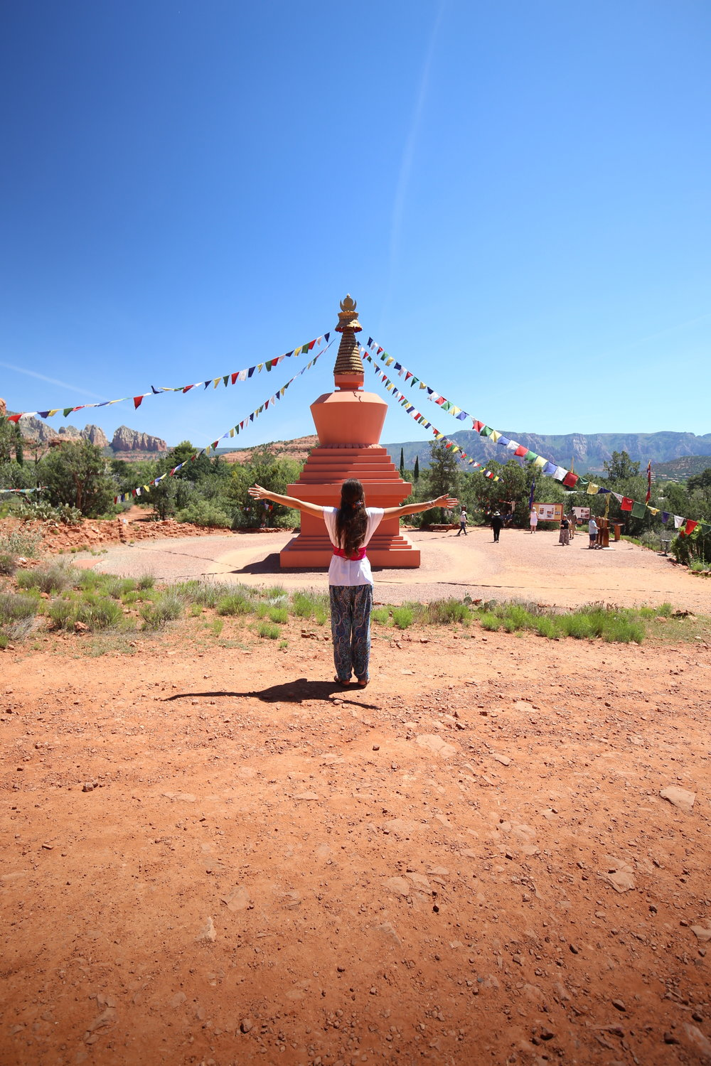 Sun salutations at the Peace Stupa of Sedona.