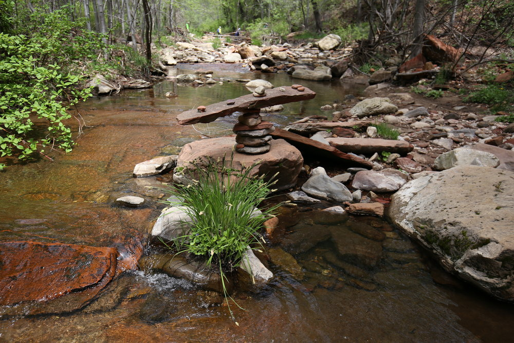 Hiking through Oak Creek on the West Fork Trail, Sedona.