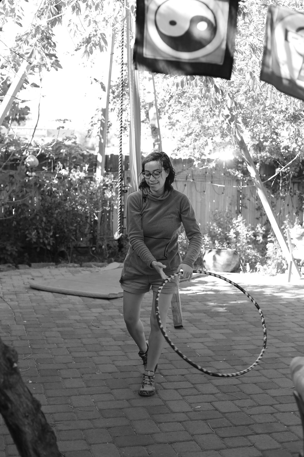 Brenda with a hula hoop at ChocolaTree.
