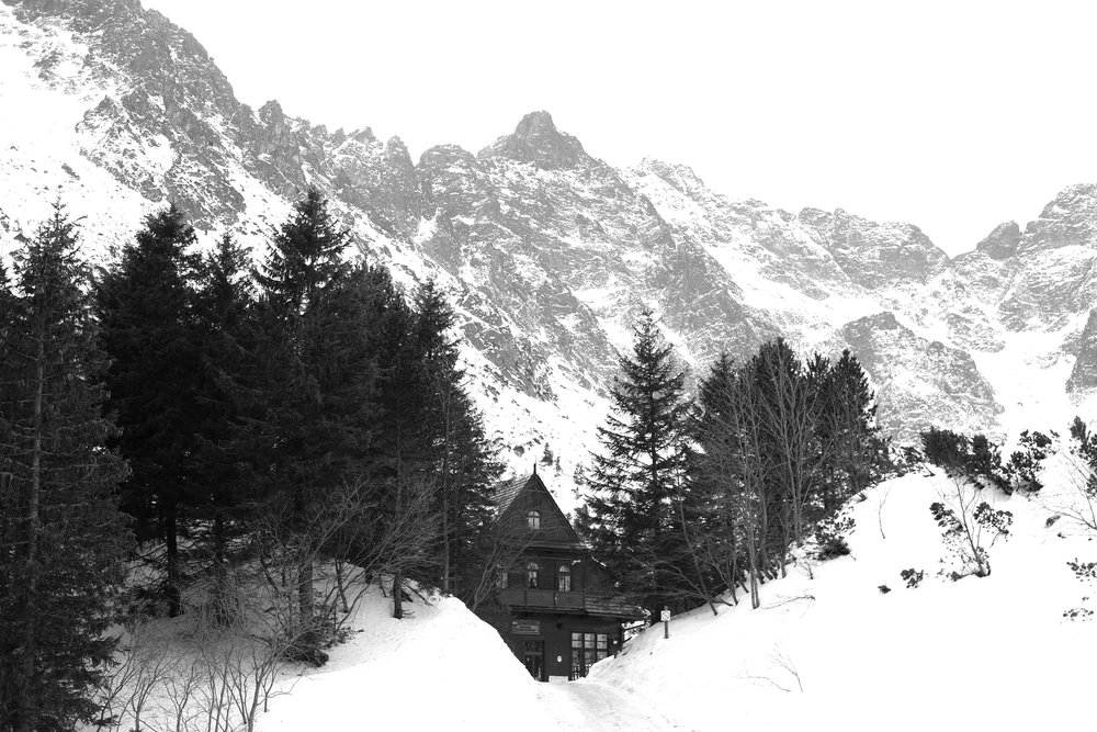 The small cabin at the top of Morskie Oko Lake, where climbers get ready to scale the mountains.