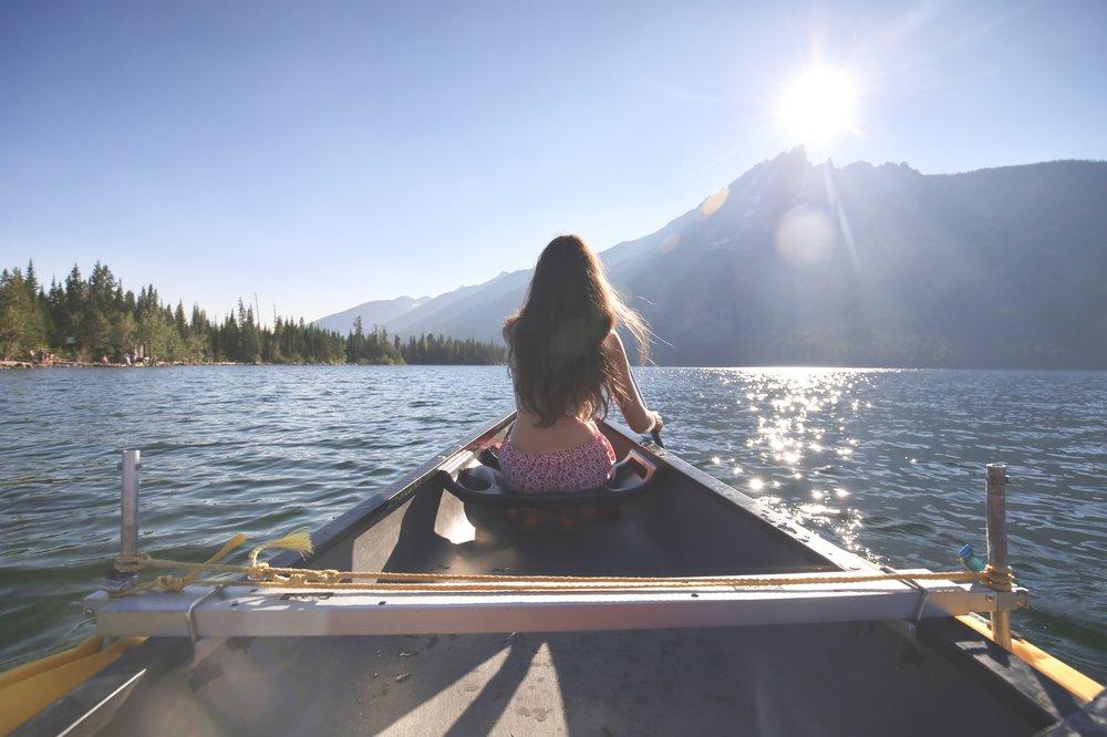 girl canoe grand tetons