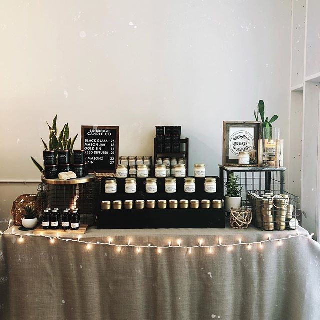 All set up at #indiecraftparade — been so wonderful already seeing so many of our repeat customers. So glad you all love your Lindbergh candles! @makersco_
