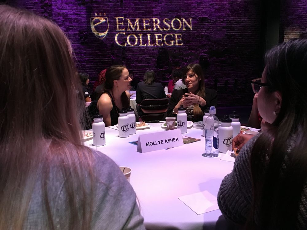 Producer Mollye Asher (r) with Emerson College students.