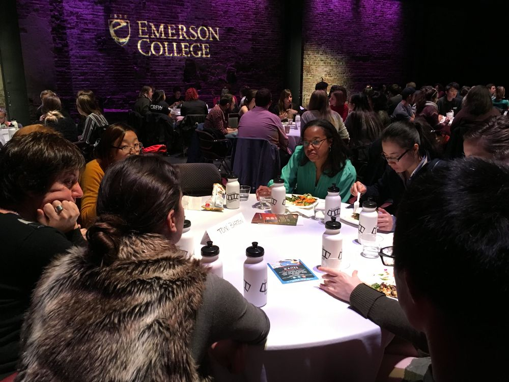 Art Director/Production Designer Toni Barton with Emerson College students.