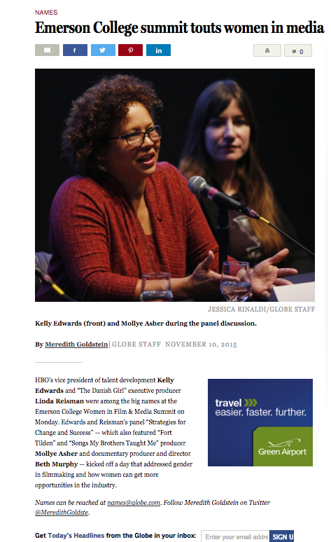 Boston Globe mentions Emerson College's first Women in Film & Media Summit, November 9, 2015.