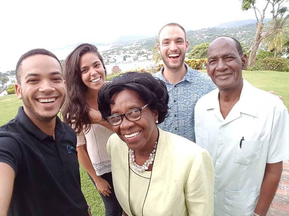 YWAM Saint Lucia was honored to house for a few months  the Logos Hope advance team (Brandon, Paula and David) picture here with the Governor General of Saint Lucia H.E. Paulette Louisy and Pastor, Rev Griffith (in front line)