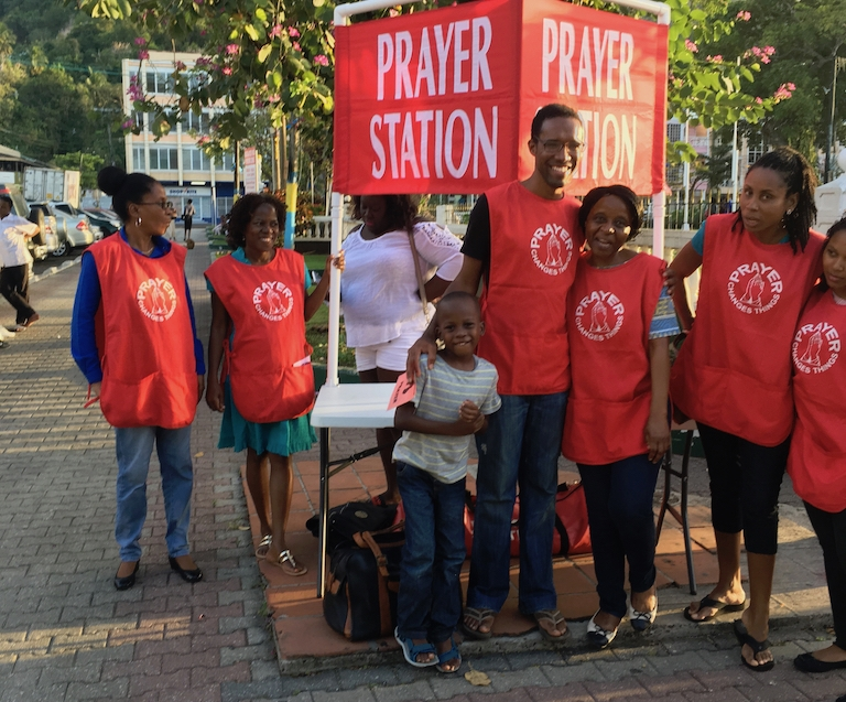 Joan, Marylin, Asaph, Shawn, Marlyse, Laurna, and Edrysha after a Prayer station n Castries