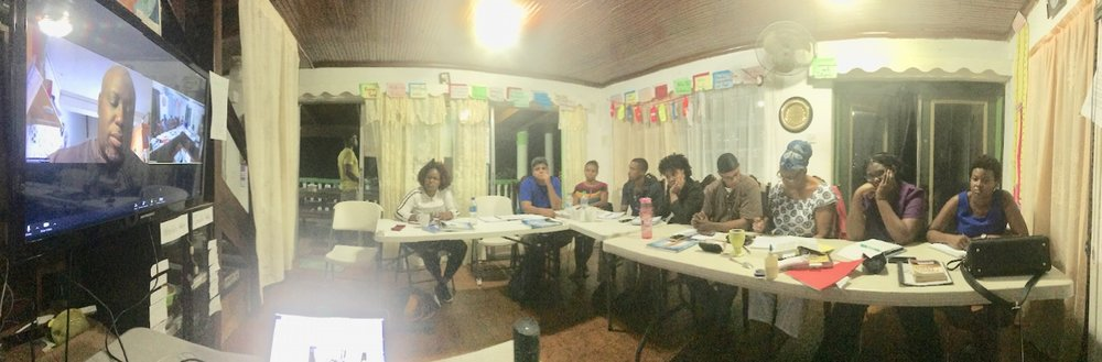 """Samuel Legendart (YWAM Guadeloupe) via video conferencing teaching about """"The Cross""""during our MDTS Level 1 class"""