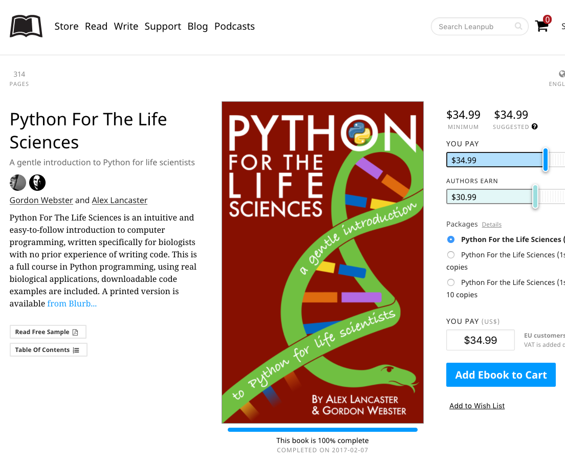 Python for the Life Sciences eBook now available in ePub and mobi