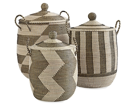 Striped La Jolla Baskets - Add lidded baskets to any space for a fun way to store items such as toys and towels. Try the Striped La Jolla Baskets from Serena & Lily